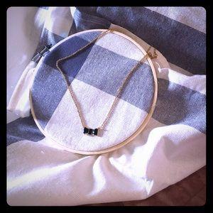 Kate Spade black enamel bow necklace